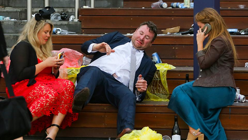 Punters, pictured here after a long day at the 2018 Melbourne Cup.