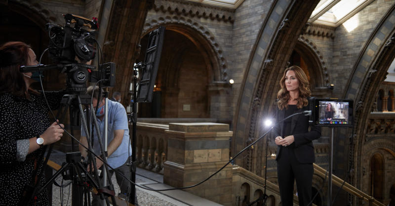 Kate being filmed in the museum