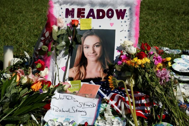 A memorial for Meadow Pollack, one of the 17 people shot dead at Marjory Stoneman Douglas High School in Parkland, Florida