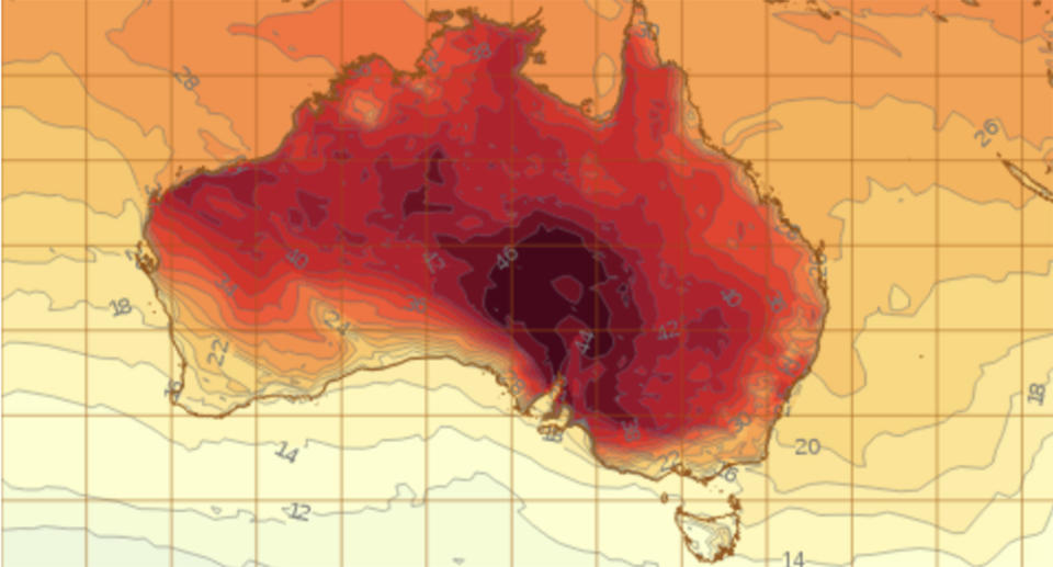 A Bureau of Meteorology map showing a dark red section which signifies the hottest part of the country.