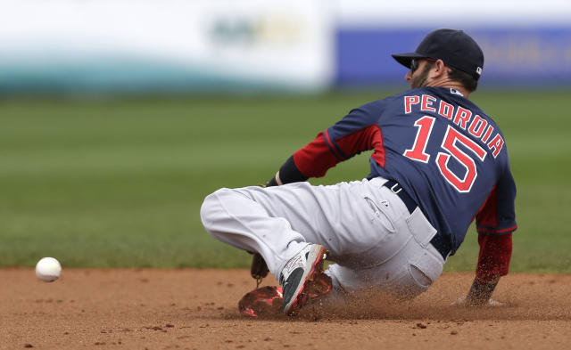 Boston Red Sox second baseman Dustin Pedroia (15) chases after a line drive by Tampa Bay Rays' James Loney in the second inning of an exhibition baseball game in Port Charlotte, Fla., Tuesday, March 25, 2014. (AP Photo/Gerald Herbert)