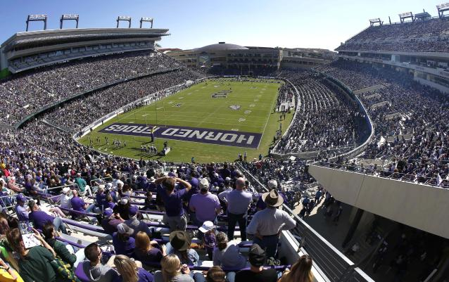 Baylor plays TCU during the first half of an NCAA college football game, Saturday, Nov. 9, 2019, in Fort Worth, Texas. (AP Photo/Ron Jenkins)