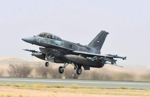 A handout file photo released on April 4, 2015 by the UAE news agency WAM shows an Emirati F-16 fighter jet taking off before raids against Huthi rebels in Yemen