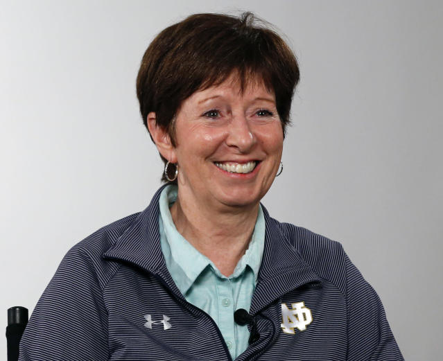 FLE - In this Oct. 3, 2019, file photo, Notre Dame coach Muffet McGraw answers a question during the Atlantic Coast Conference women's NCAA college basketball media day in Charlotte, N.C. Muffet McGraw abruptly retired Wednesday, April 22, 2020, stepping down from Notre Dame after a Hall of Fame coaching career that includes two national championships in 33 seasons. (AP Photo/Nell Redmond, File)