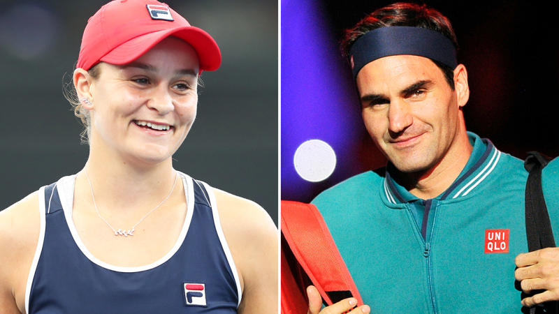 Ash Barty and Roger Federer, pictured here ahead of the Australian Open.