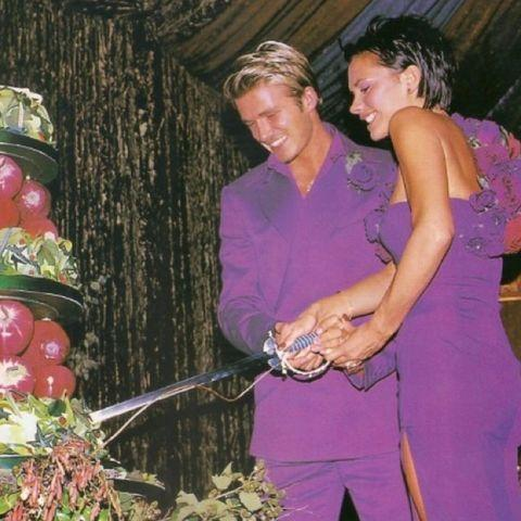 "<p>Who could forget the Beckham's legendary matching purple outfits, by designer Antonio Berardi? They changed into the eye catching looks for their lavish wedding reception, also coordinating with a baby Brooklyn. Cute! </p><p><a href=""https://www.instagram.com/p/CLRhcr-pcHB/"" rel=""nofollow noopener"" target=""_blank"" data-ylk=""slk:See the original post on Instagram"" class=""link rapid-noclick-resp"">See the original post on Instagram</a></p>"