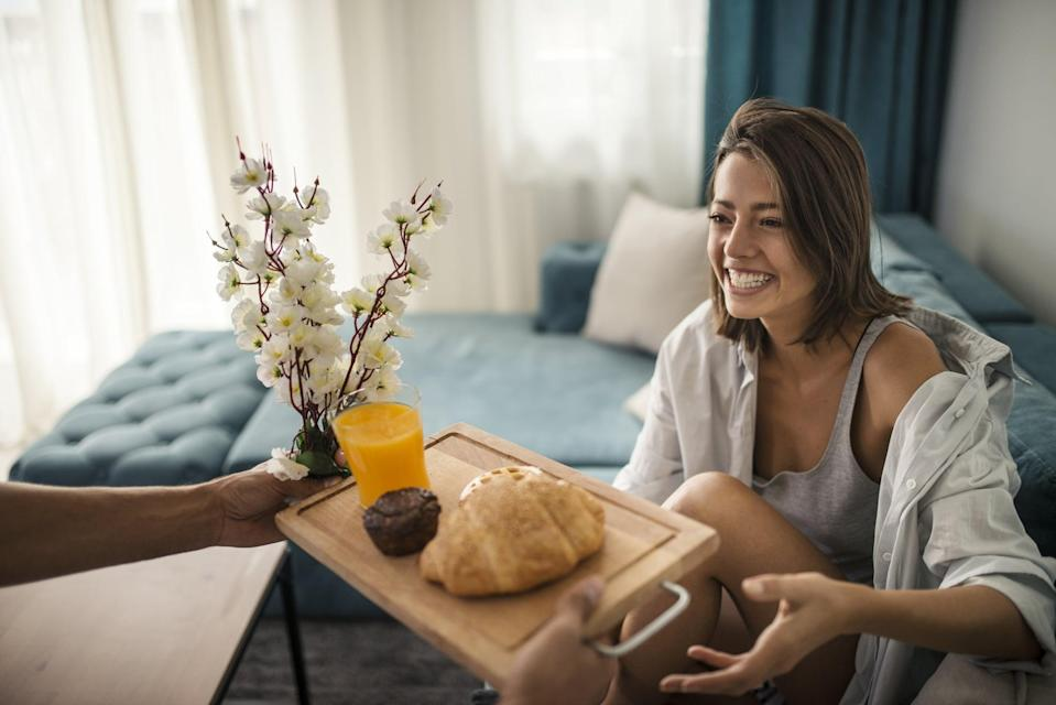 <p>Whether it's serving your partner breakfast in bed or whipping up their favorite treats, spend the day spoiling one another. Take turns pampering each other for no other reason than you both deserving to feel loved and appreciated.</p>