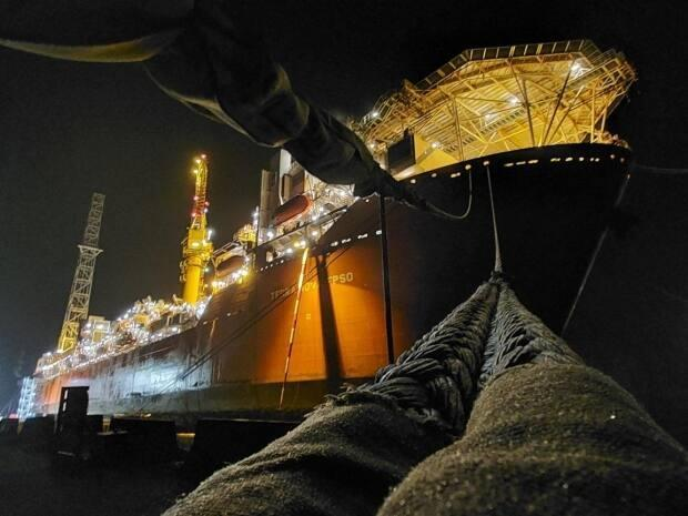The Terra Nova FPSO is moored dockside at the Bull Arm fabrication site in Trinity Bay, where its fate remains uncertain.