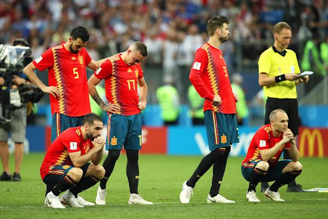 The Spain players look dejected during a penalty shootout during the 2018 FIFA World Cup Russia Round of 16 match between Spain and Russia at Luzhniki Stadium on July 1, 2018 in Moscow, Russia. (Getty Images)