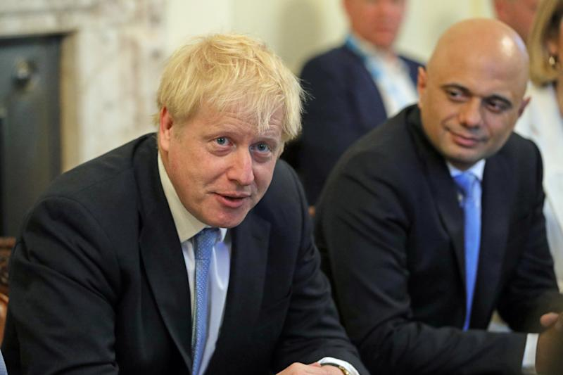 Britain's Prime Minister Boris Johnson and Chancellor of the Exchequer Sajid Javid attend the first Cabinet meeting at Downing Street in London, Britain July 25, 2019. Aaron Chown/Pool via REUTERS