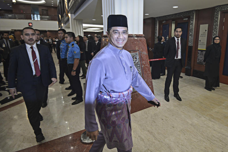 Economy Affairs Minister Datuk Seri Azmin Ali is seen in Parliament October 11, 2019, ahead of the tabling of Budget 2020.― Picture by Shafwan Zaidon