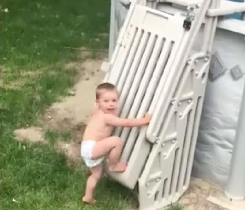 Video captures 2-year-old climbing 'unclimbable' pool ladder