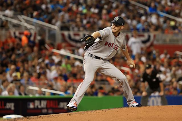 <p>Chris Sale #41 of the Boston Red Sox and the American League pitches in the first inning against the National League during the 88th MLB All-Star Game at Marlins Park on July 11, 2017 in Miami, Florida. (Photo by Mike Ehrmann/Getty Images) </p>