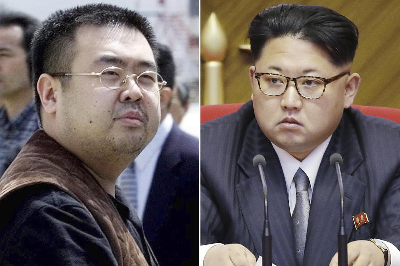 FILE - This combination of file photos shows Kim Jong Nam, left, exiled half-brother of North Korea's leader Kim Jong Un, in Narita, Japan, on May 4, 2001, and North Korean leader Kim Jong Un on May 9, 2016, in Pyongyang, North Korea. South Korean agencies said Tuesday, June 11, 2019, they could not confirm a report that Kim Jong Nam was a U.S. intelligence source and had traveled to Malaysia to meet his CIA contact before being assassinated there in 2017.(AP Photos/Shizuo Kambayashi, Wong Maye-E, File)