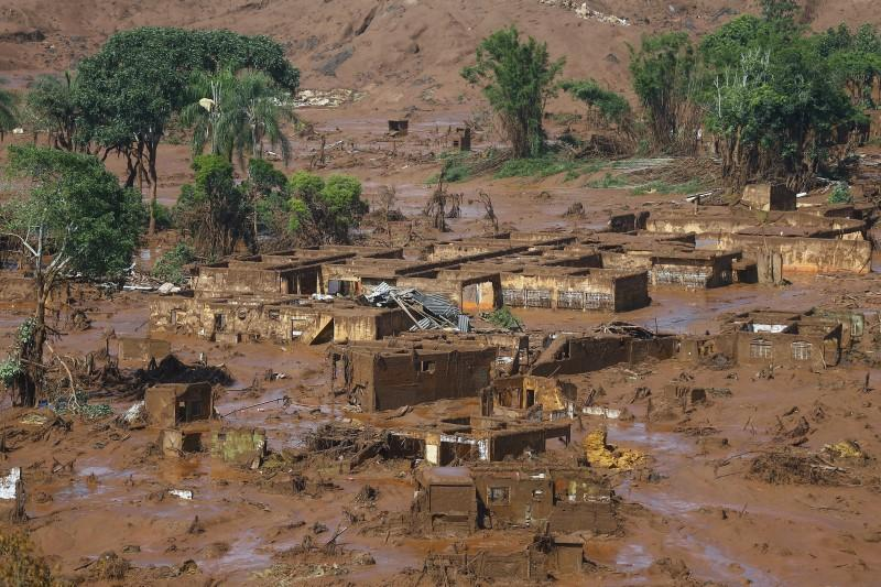 The Bento Rodrigues district is pictured covered with mud after a dam owned by Vale SA and BHP Billiton Ltd burst in Mariana