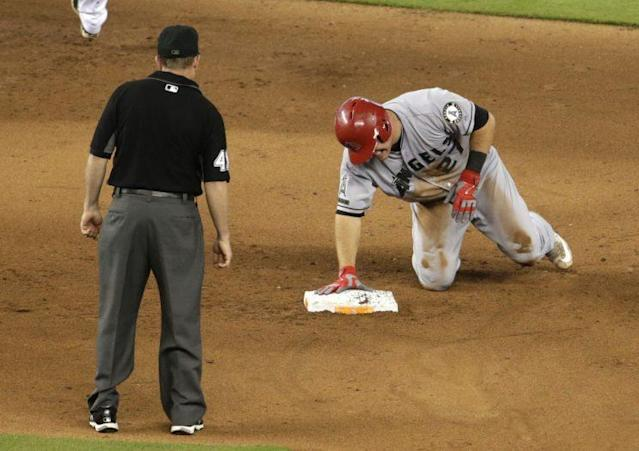 Mike Trout missed 39 games after injuring his thumb during a slide. (AP Photo)