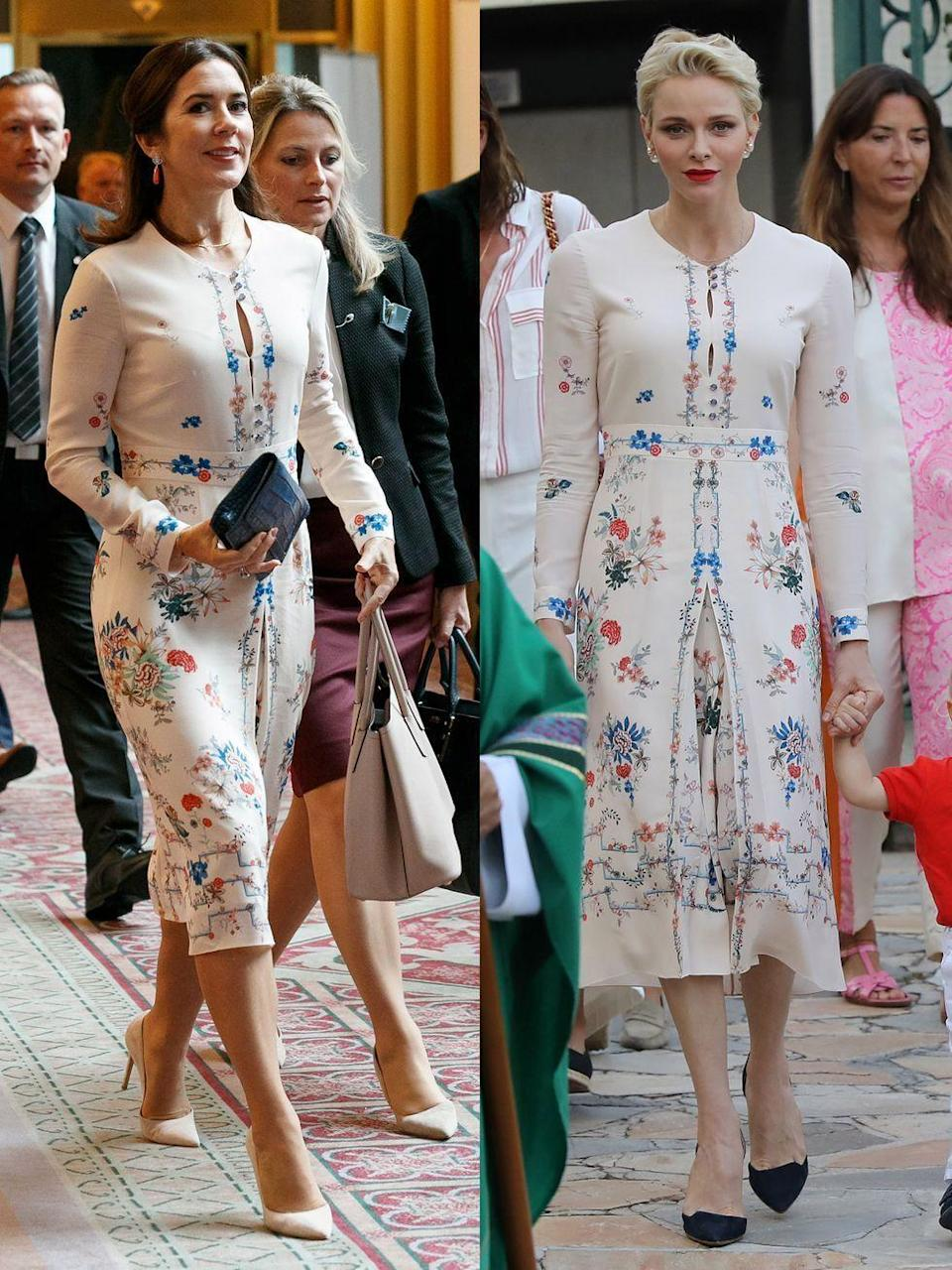 <p><strong>Left: </strong>Princess Mary of Denmark attended a business seminar at Hotel Gajoen Tokyo, wearing Vilshenko in October of 2017.</p><p><strong>Right: </strong>Princess Charlene of Monaco wore the same floral dress one year earlier, though she styled with black pumps as opposed to nude, at Monaco's traditional end-of-summer picnic in September of 2016.</p>