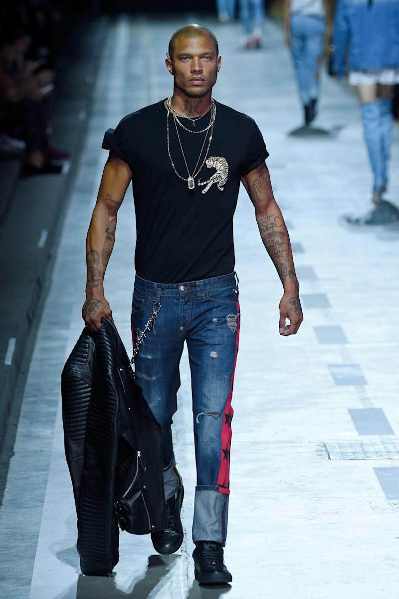 Jeremy Meeks walks the runway at the Philipp Plein show during Milan Men's Fashion Week spring/summer 2018 on June 17 in Milan, Italy (Pietro D'aprano via Getty Images)