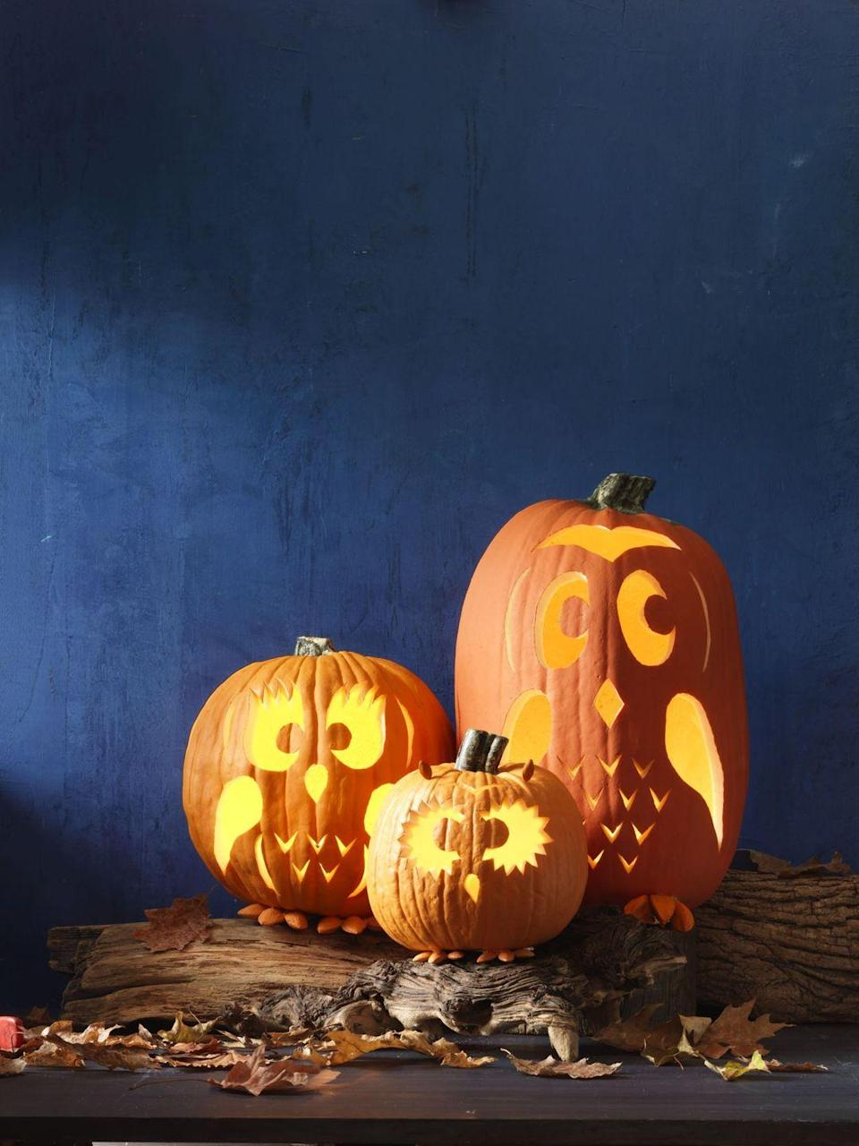 """<p>This family of birds is a literal hoot. Carve out their cute expressions using <a href=""""https://www.womansday.com/home/crafts-projects/g950/funny-pumpkin-carving-ideas/?slide=32"""" rel=""""nofollow noopener"""" target=""""_blank"""" data-ylk=""""slk:free templates"""" class=""""link rapid-noclick-resp"""">free templates</a>, and then attach hand-painted nuts for tiny ears and feet. </p>"""