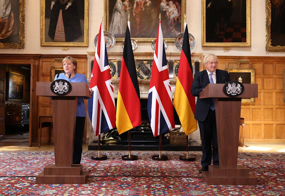 Prime Minister Boris Johnson and the Chancellor of Germany, Angela Merkel, during a press conference after their meeting at Chequers, the country house of the Prime Minister of the United Kingdom, in Buckinghamshire. Picture date: Friday July 2, 2021.
