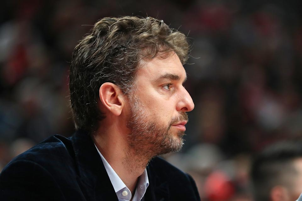 PORTLAND, OREGON - OCTOBER 23: Pau Gasol #16 of the Portland Trail Blazers looks on against the Denver Nuggets in the first quarter during their season opener at Moda Center on October 23, 2019 in Portland, Oregon. NOTE TO USER: User expressly acknowledges and agrees that, by downloading and or using this photograph, User is consenting to the terms and conditions of the Getty Images License Agreement (Photo by Abbie Parr/Getty Images)