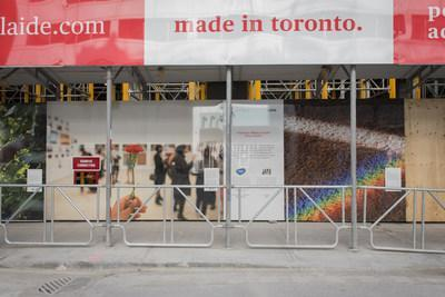 Toronto Makes Good PATCH Hoarding Exhibit featuring artists Leilah Dhoré and Holly Chang (exhibit photographed by Sharon Mendonca). (CNW Group/STEPS Public Art)
