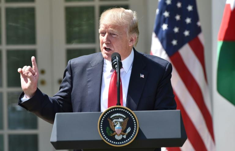 US President Donald Trump speaks during a joint press conference with Jordan's King Abdullah II in the Rose Garden at the White House on April 5, 2017 in Washington, DC