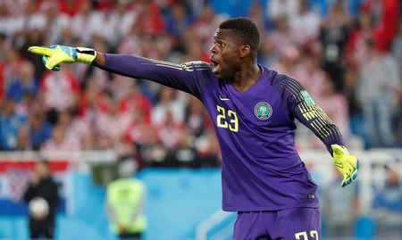 Soccer Football - World Cup - Group D - Croatia vs Nigeria - Kaliningrad Stadium, Kaliningrad, Russia - June 16, 2018 Nigeria's Francis Uzoho reacts REUTERS/Murad Sezer