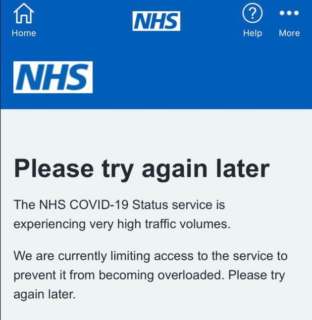 The NHS Covid App went down on Wednesday (Photo: Covid Pass App)