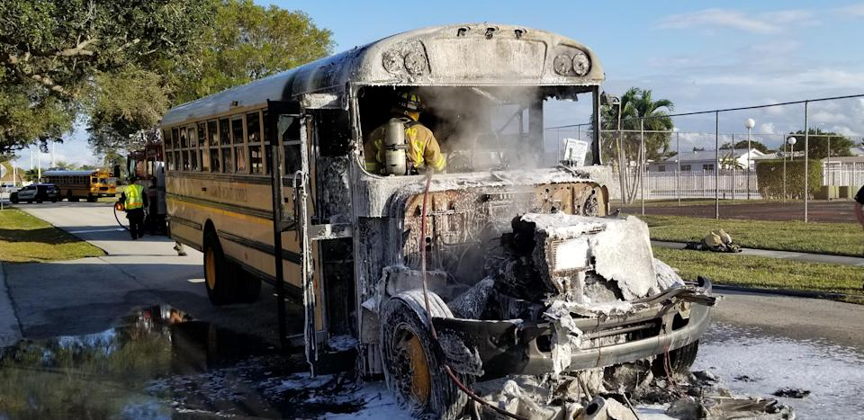 A bus driver helped 16 children safely escape a school bus on fire. (Photo Courtesy of Tamarac Fire Rescue)