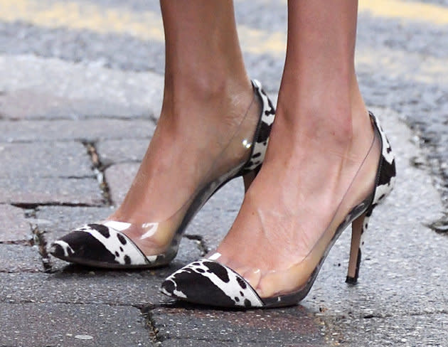 Meghan's cow-print shoes were certainly eye-catching.