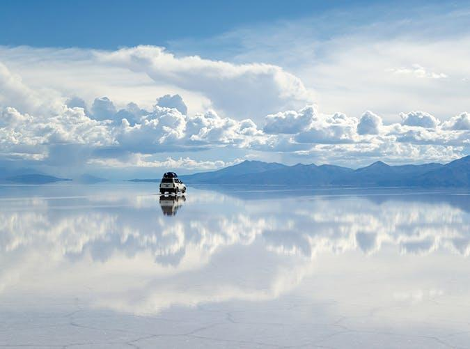 <p>The result of a prehistoric lake that dried up, this area in southwest Bolivia is now covered by bright-white salt formations that give the illusion of walking in the clouds.</p>