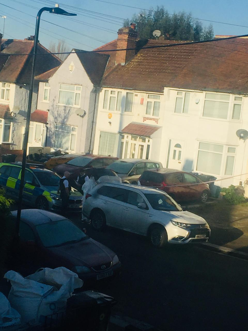 <p>Forensics sweep the scene after the murder in Drew Gardens</p>Supplied
