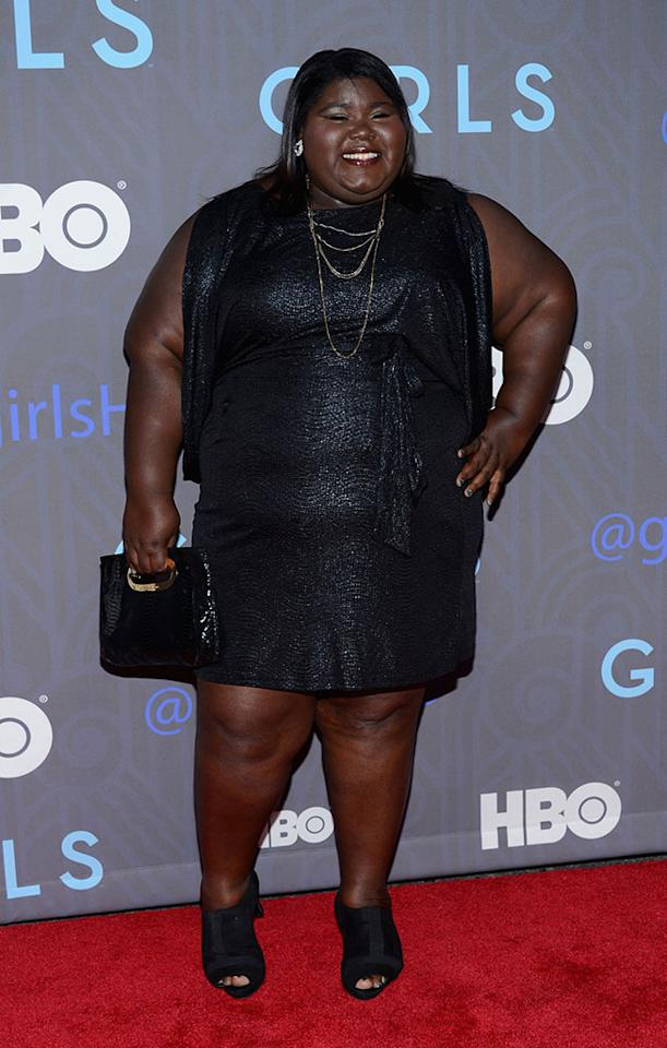 "Gabourey Sidibe attends HBO's premiere of ""Girls"" Season 2 at the NYU Skirball Center on January 9, 2013 in New York City."