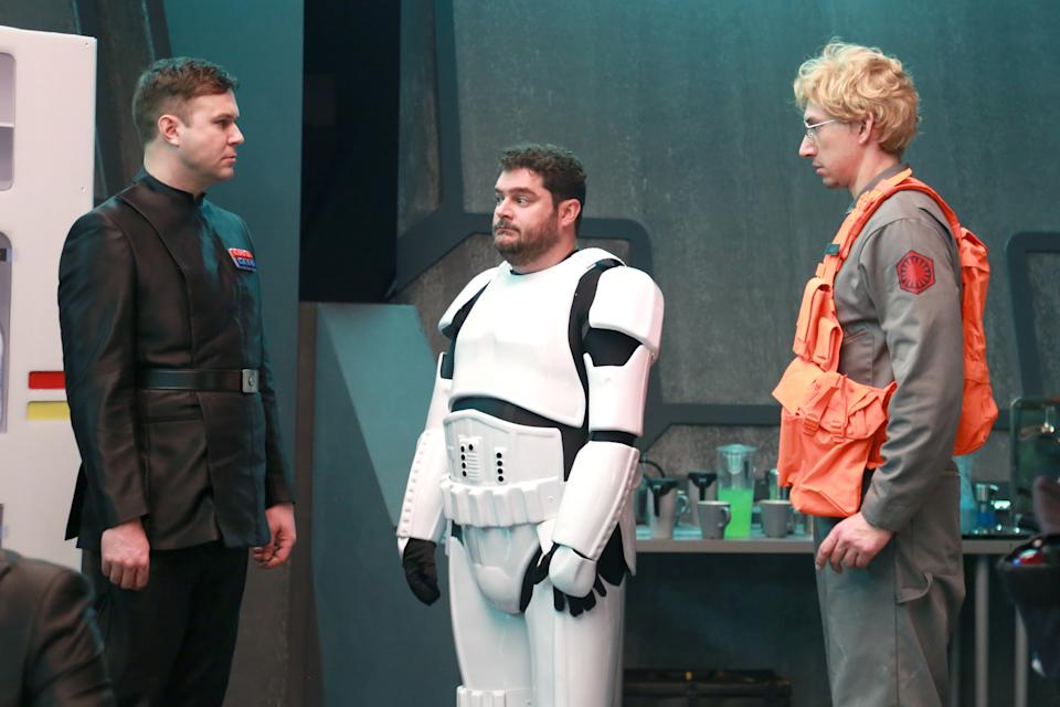 """SATURDAY NIGHT LIVE -- """"Adam Driver"""" Episode 1693 -- Pictured: (l-r) Taran Killam, Bobby Moynihan, and Adam Driver as Kylo Ren during the """"Undercover Boss: Starkiller Base"""" sketch on January 16, 2016 -- (Photo by: Dana Edelson/NBC/NBCU Photo Bank via Getty Images)"""