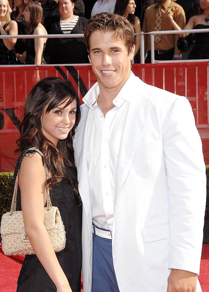 "Cleveland Browns quarterback Brady Quinn is a hottie, but his date should have stopped him from stepping out in this white blazer/blue pants combo. Stephen Shugerman/<a href=""http://www.gettyimages.com/"" target=""new"">GettyImages.com</a> - July 16, 2008"