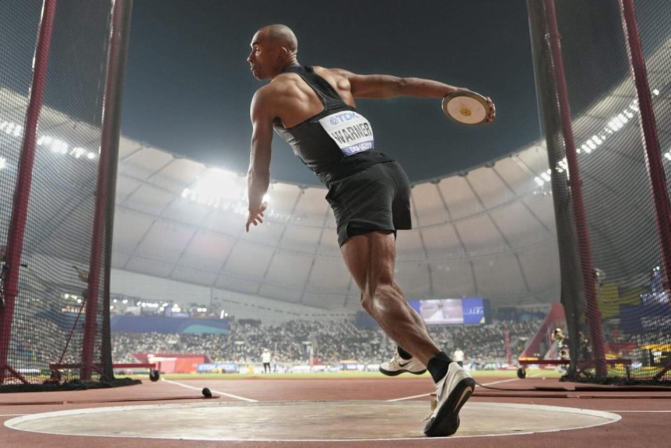 """<span class=""""caption"""">This May, Olympian bronze medallist Damian Warner set three new Decathlon Bests in 100m, long jump, and 110m hurdles, earning a new Canadian record for overall points.</span> <span class=""""attribution""""><span class=""""source"""">(AP Photo/David J. Phillip) </span></span>"""