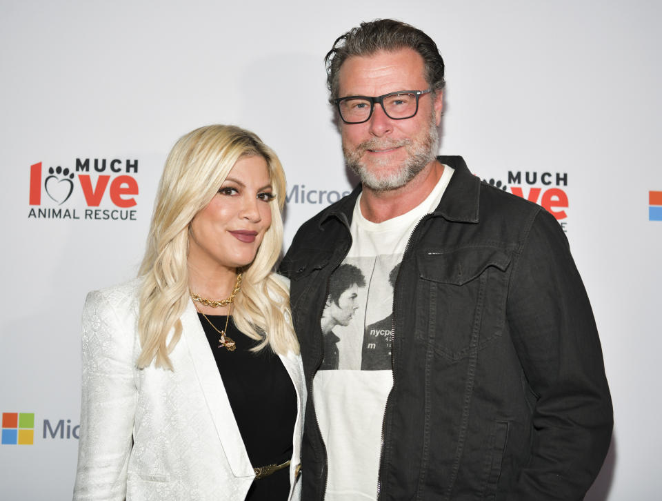 CULVER CITY, CALIFORNIA - OCTOBER 17: Tori Spelling (L) and Dean McDermott attend the Much Love Animal Rescue 3rd Annual Spoken Woof Benefit at Microsoft Lounge on October 17, 2019 in Culver City, California. (Photo by Rodin Eckenroth/Getty Images)