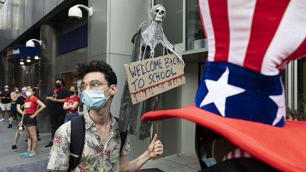 PHOTO: Protesters gather to oppose plans to reopen schools in the midst of the coronavirus pandemic in New York, Aug. 2020. (Justin Lane/EPA via Shutterstock, FILE)