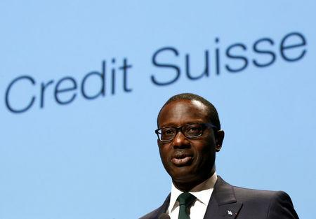 FILE PHOTO: Chief Executive Tidjane Thiam of Credit Suisse bank speaks during a conference in Lausanne, Switzerland, May 19, 2016.  REUTERS/Denis Balibouse/File Photo