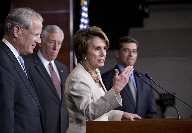 FILE - This March 14, 2013 file photo shows House Minority Leader Nancy Pelosi of Calif., and House Democratic leaders speaks during a news conference on Capitol Hill in Washington. The House Republicans' campaign committee raised almost $10 million in March and has $31.2 million banked to defend the party's majority, according to financial reports filed Sunday. The National Republican Congressional Committee's $21.2 million fundraising haul in January, February and March gave the group its best first-quarter showing since 2003. It also puts the committee roughly $8 million ahead of its fundraising at this point in 2012. From left to right are Democratic Campaign Committee Chairman Steve Israel, D-N.Y., House Minority Whip Steny Hoyer, D-Md., House Minority Leader Nancy Pelosi, D-Calif., and Democratic Caucus Chairman Xavier Becerra, D-Calif. (AP Photo/J. Scott Applewhite, File)