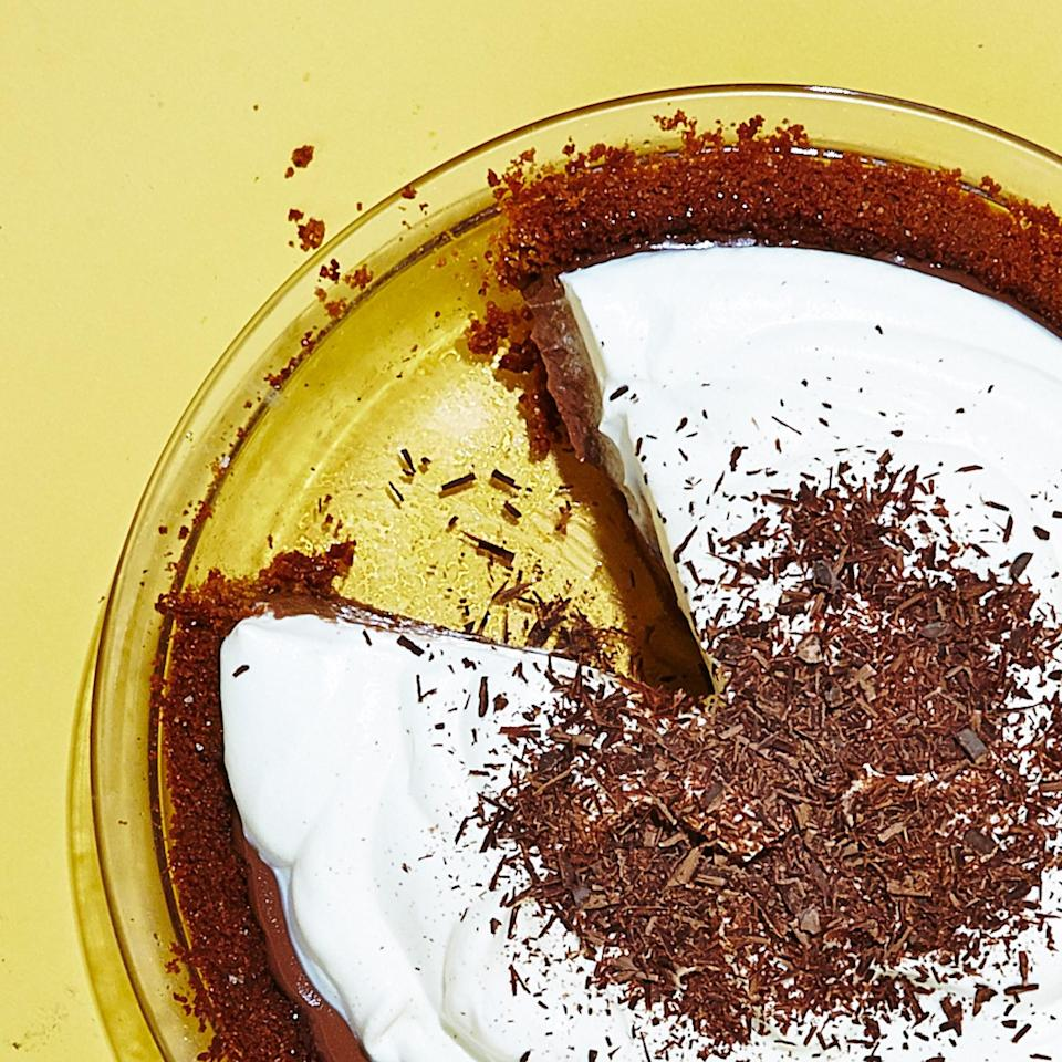 """Gingersnaps add an unexpected zing and are a great foil to the richness of this chocolatey pie. Sub in gluten-free graham crackers if you prefer. <a href=""""https://www.bonappetit.com/recipe/gluten-free-chocolate-cream-pie?mbid=synd_yahoo_rss"""" rel=""""nofollow noopener"""" target=""""_blank"""" data-ylk=""""slk:See recipe."""" class=""""link rapid-noclick-resp"""">See recipe.</a>"""