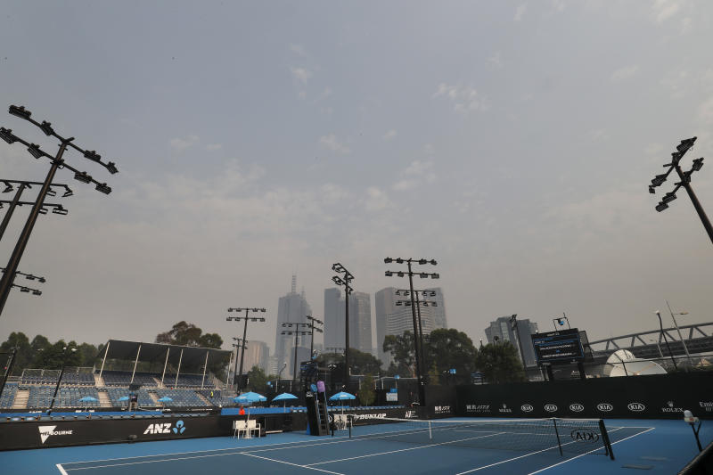 Smoke haze is seen across the Melbourne skyline ahead of the 2020 Australian Open at Melbourne Park on January 15, 2020 in Melbourne, Australia.