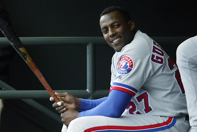 Montreal Expos slugger Vladimir Guerrero laughs in the dugout during a game against the San Francisco Giants at Pac Bell Park on May 14, 2003 in San Francisco, California. (Getty Images)