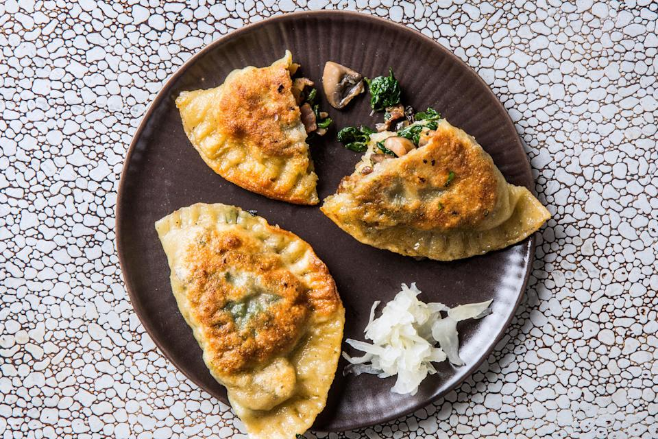 "To make this vegetarian, omit bacon and add 4 Tbsp. olive oil for browning mushrooms. <a href=""https://www.bonappetit.com/recipe/bacon-mushroom-and-spinach-pierogies?mbid=synd_yahoo_rss"" rel=""nofollow noopener"" target=""_blank"" data-ylk=""slk:See recipe."" class=""link rapid-noclick-resp"">See recipe.</a>"