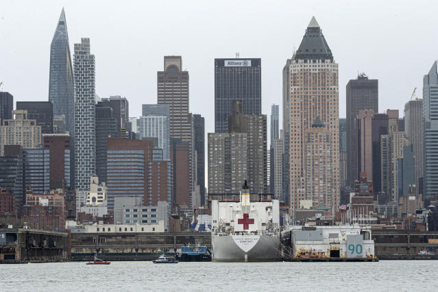 The USNS Comfort navy hospital ship is docked in Manhattan as the coronavirus ravages New York. (Photo by Kena Betancur/Getty Images)