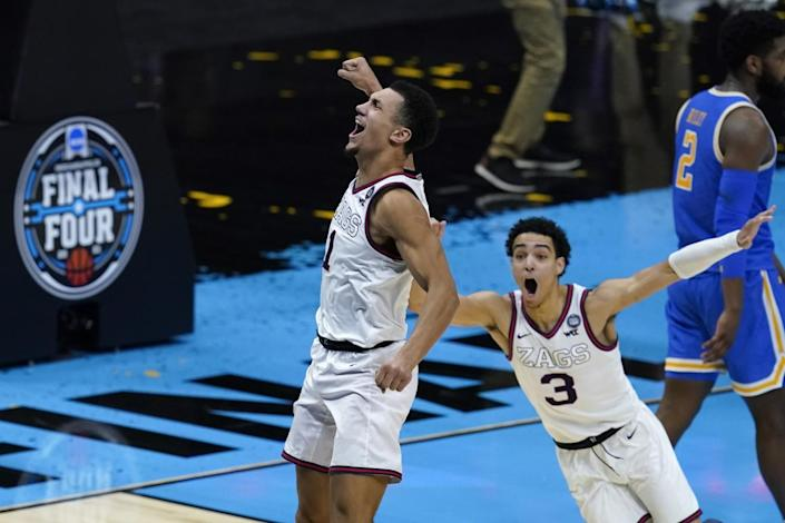 Gonzaga guard Jalen Suggs celebrates after making the game-winning basket against UCLA during the NCAA tournament.