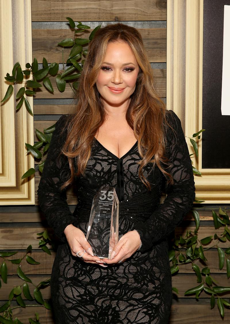 LOS ANGELES, CALIFORNIA - DECEMBER 07: Leah Remini, recipient of the Truth to Power Award, poses during the 2019 IDA Documentary Awards at Paramount Pictures on December 07, 2019 in Los Angeles, California. (Photo by Jesse Grant/Getty Images for International Documentary Association)