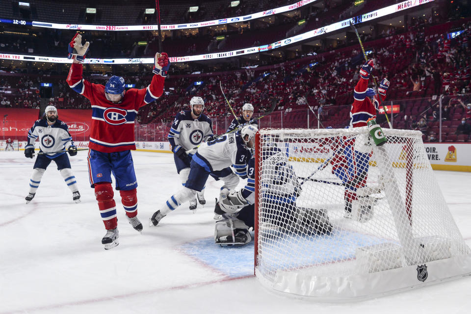 Corey Perry of the Montreal Canadiens celebrates a goal during Game 4 of the team's series against the Jets. (Photo by Minas Panagiotakis/Getty Images)
