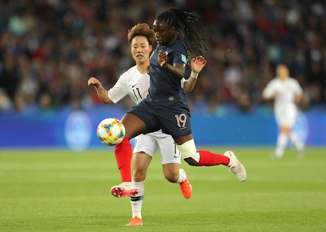 Griedge Mbock Bathy of France battles for possession with Seolbin Jung of Korea Republic during the 2019 FIFA Women's World Cup France group A match between France and Korea Republic at Parc des Princes on June 07, 2019 in Paris, France. (Photo by Richard Heathcote/Getty Images)